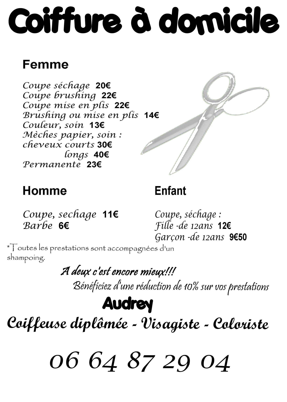 Coiffure domicile 22 for Salon de coiffure niwel tarifs